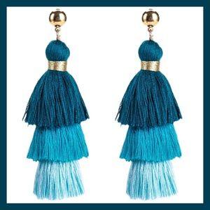 "3-Layer Multi Shade Blue 3"" Fringe Earrings NWT"